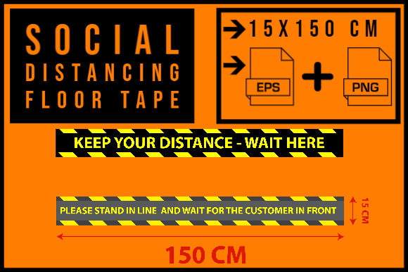 Print on Demand: Social Distancing Floor Tape Graphic Print Templates By smnlbr34