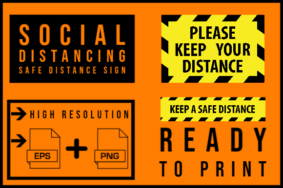 Download Free Social Distancing Safe Distance Sign Graphic By Smnlbr34 for Cricut Explore, Silhouette and other cutting machines.