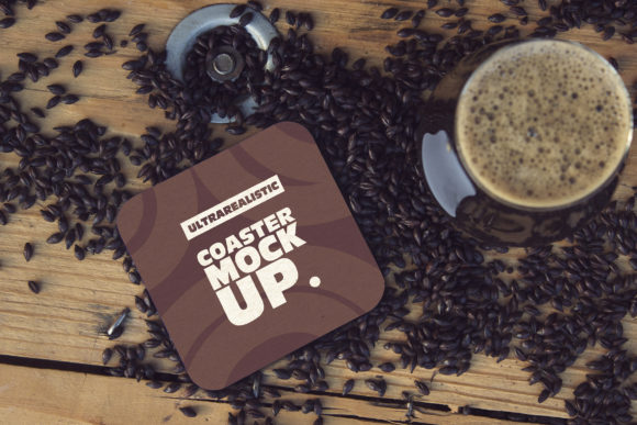 Square Coaster & Cup Black Malt Mockup Graphic Product Mockups By SmartDesigns