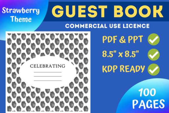 Print on Demand: Strawberry Guest Book | KDP Interior Graphic KDP Interiors By Mastery Templates