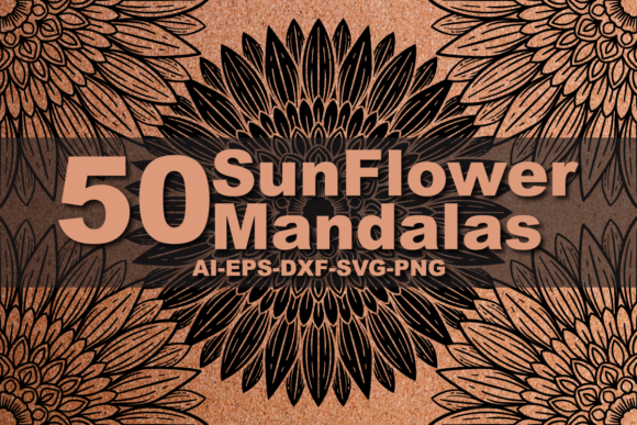 Download Free Sunflower Mandalas Graphic By Bayu Baluwarta Creative Fabrica for Cricut Explore, Silhouette and other cutting machines.