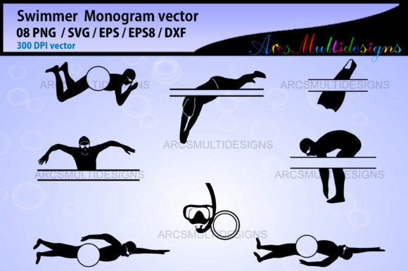 Print on Demand: Swimmer Monogram Frames Graphic Illustrations By Arcs Multidesigns