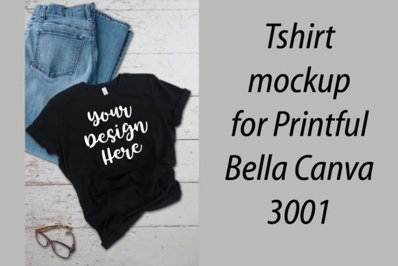 Print on Demand: Tshirt Mockup Bella Canva 3001 Printful Graphic Product Mockups By A Design in Time