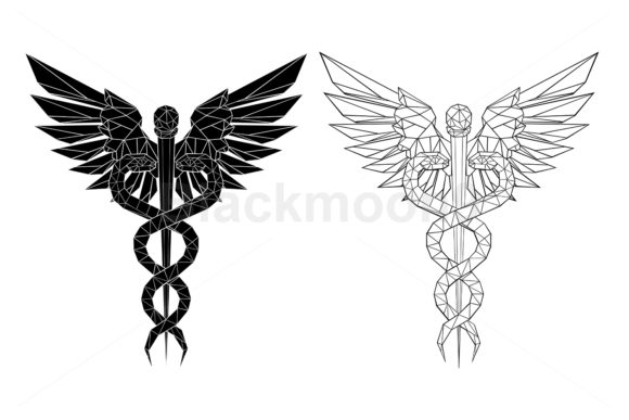Two Polygonal Caduceus Symbols Graphic Illustrations By Blackmoon9