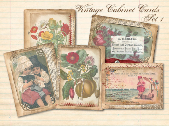 Print on Demand: Vintage Calling Cards Set 1 Graphic Illustrations By LilBitDistressed