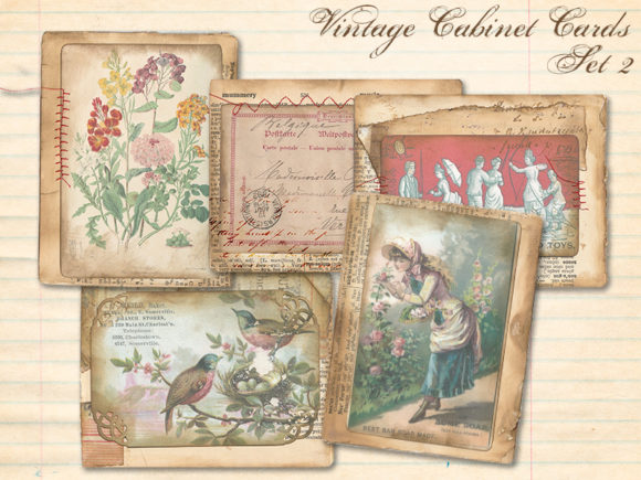 Print on Demand: Vintage Calling Cards Set 2 Graphic Illustrations By LilBitDistressed
