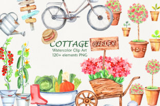 Download Free Watercolor Cottage Garden Clip Art Graphic By Evgenia Art Art for Cricut Explore, Silhouette and other cutting machines.