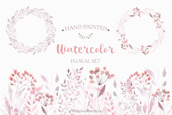 Print on Demand: Watercolor Floral Set Graphic Illustrations By MariaScaroniAtelier - Image 1