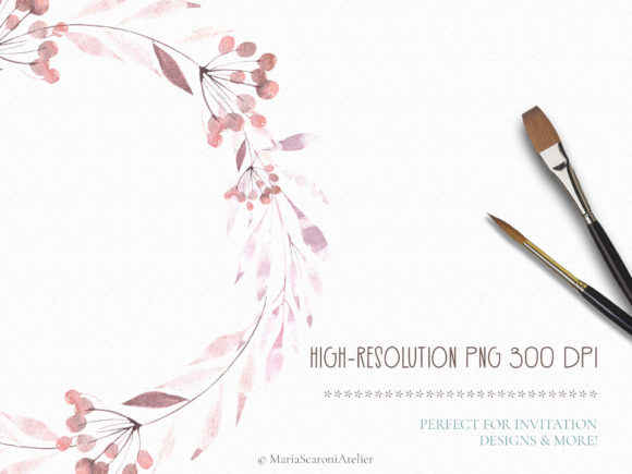 Download Free Watercolor Floral Set Graphic By Mariascaroniatelier Creative for Cricut Explore, Silhouette and other cutting machines.