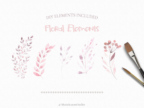 Print on Demand: Watercolor Floral Set Graphic Illustrations By MariaScaroniAtelier - Image 5
