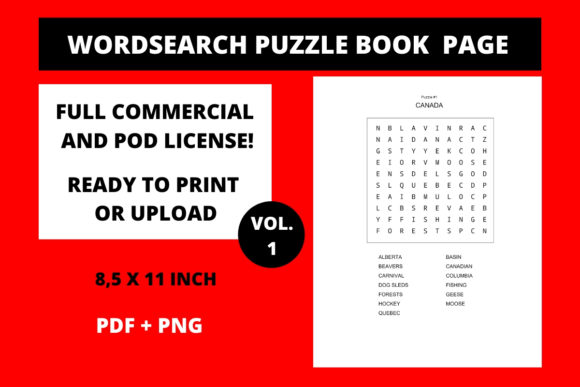 Print on Demand: Wordsearch Puzzle Printable Page Canada Graphic Teaching Materials By Fleur de Tango