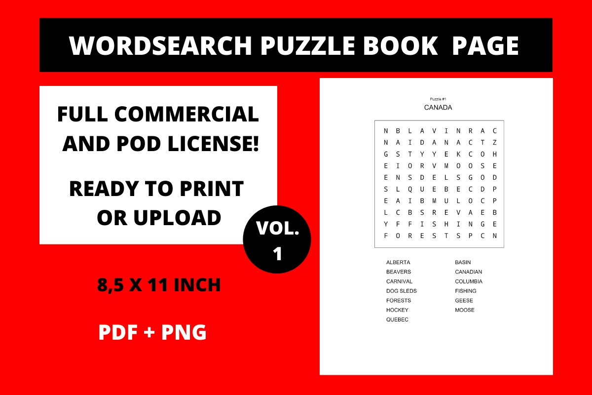 Download Free Wordsearch Puzzle Printable Page Canada Graphic By Fleur De for Cricut Explore, Silhouette and other cutting machines.