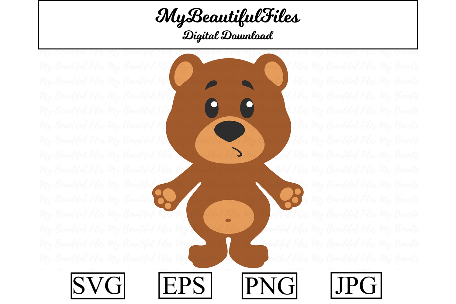 Download Free Bear Clipart Graphic By Mybeautifulfiles Creative Fabrica for Cricut Explore, Silhouette and other cutting machines.