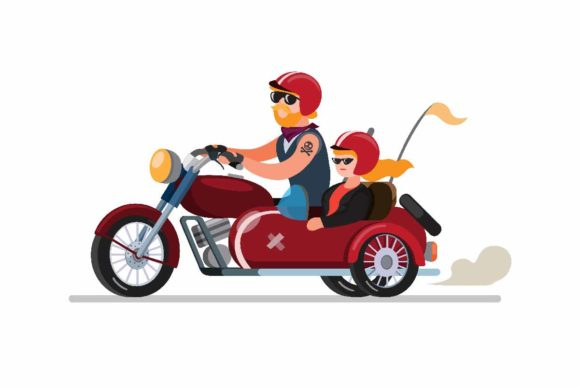 Download Free Couple Man And Woman Riding Motorbike Graphic By Aryo Hadi for Cricut Explore, Silhouette and other cutting machines.