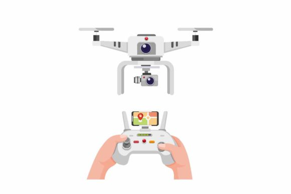 Print on Demand: Hand White Drone with Dual Camera Vector Graphic Illustrations By aryo.hadi