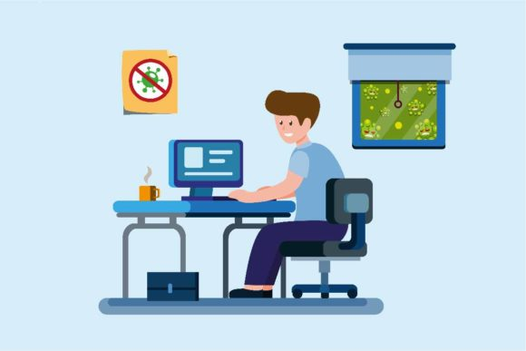 Print on Demand: Man Work from Home to Protection Graphic Illustrations By aryo.hadi