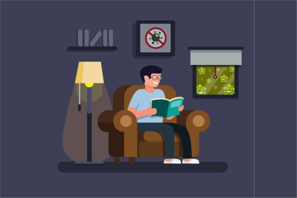Print on Demand: Relaxing Man Reading Book in Home, Stay Graphic Illustrations By aryo.hadi