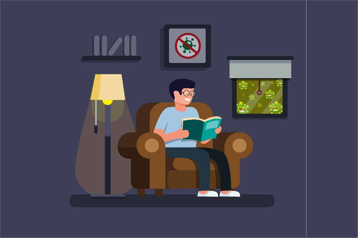 Download Free Relaxing Man Reading Book In Home Stay Graphic By Aryo Hadi for Cricut Explore, Silhouette and other cutting machines.
