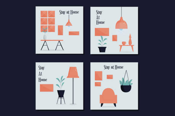 Stay at Home Instagram Posting Template Graphic Illustrations By april_arts