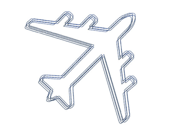 Airplane Scribble Stitch Transportation Embroidery Design By SweetDesign