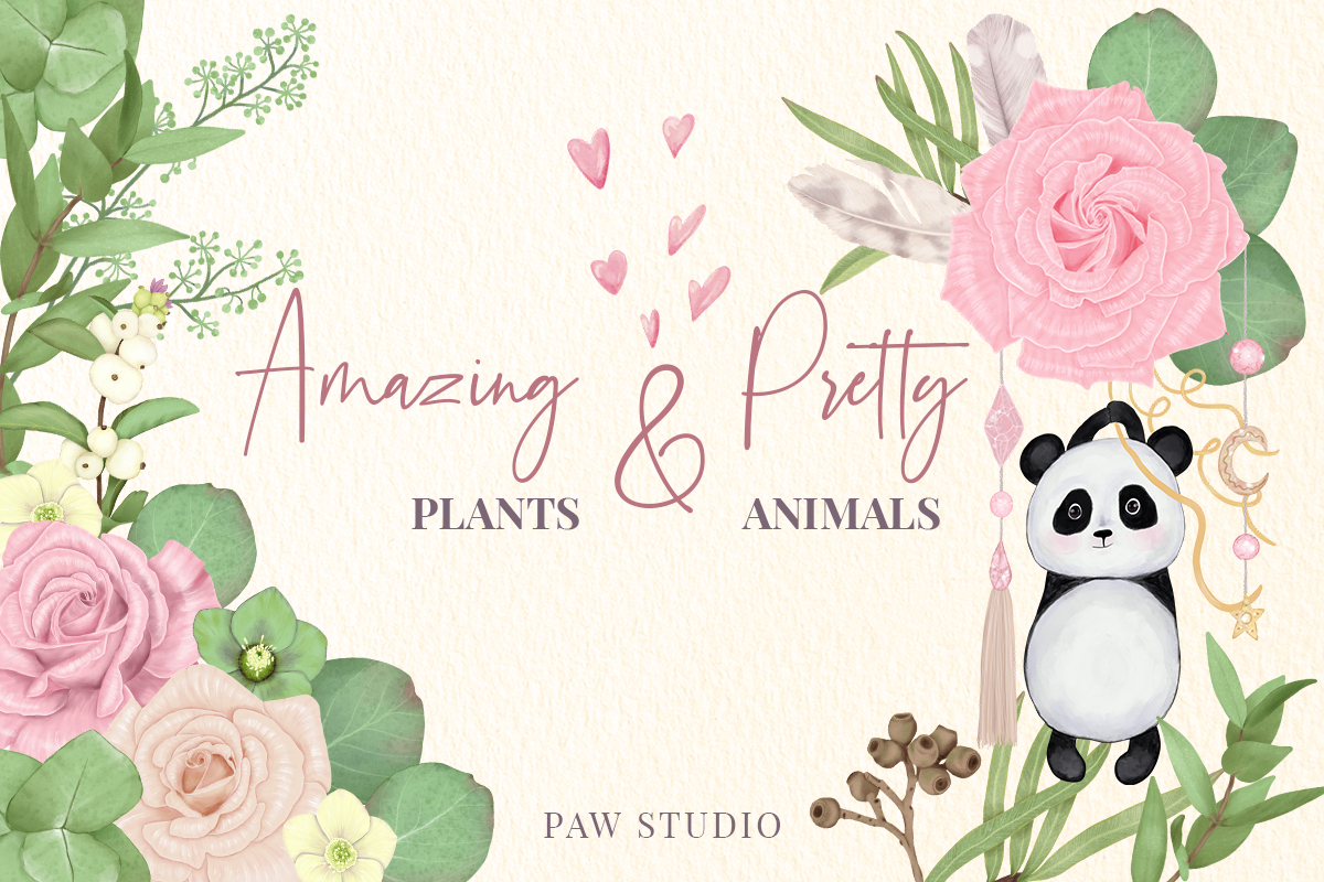 Download Free Amazing Flowers Leaves Pretty Animals Bundle Creative Fabrica for Cricut Explore, Silhouette and other cutting machines.
