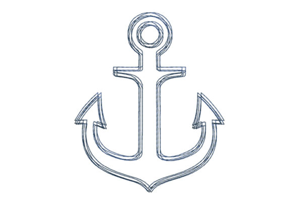 Anchor Scribble Stitch Beach & Nautical Embroidery Design By SweetDesign