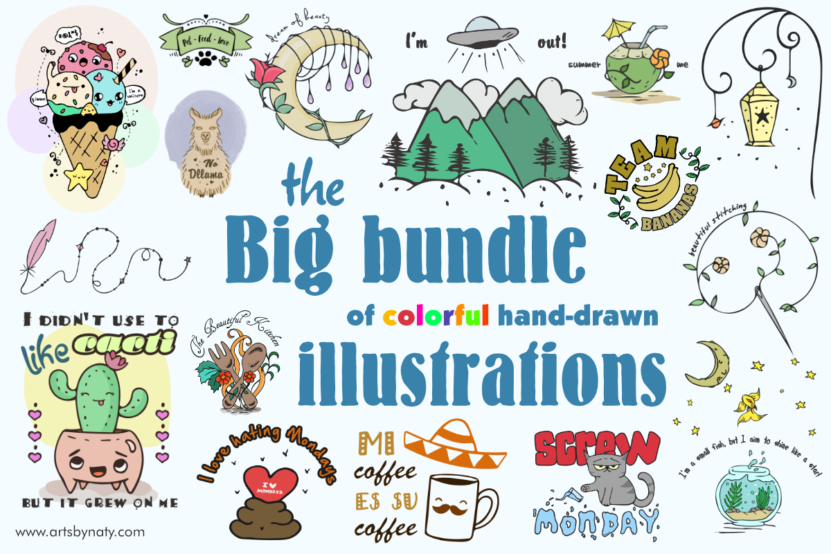Download Free Big Bundle Of Hand Drawn Illustrations Bundle Creative Fabrica for Cricut Explore, Silhouette and other cutting machines.