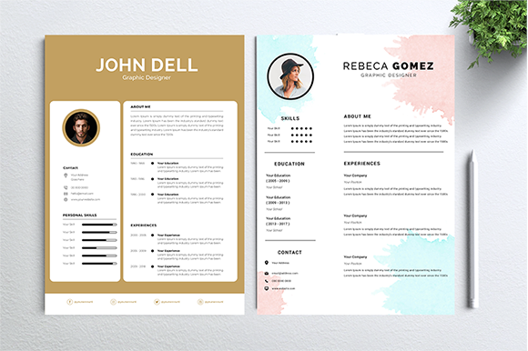 Download Free Cv Resume 2 Concept Bundles Mc Vol 14 Graphic By Nabila Studio for Cricut Explore, Silhouette and other cutting machines.