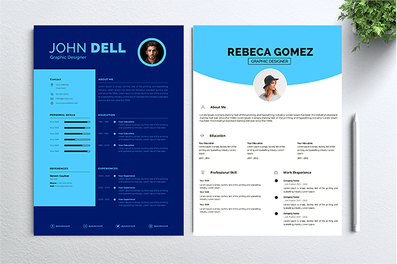 Download Free Cv Resume 2 Concept Bundles Mc Vol 16 Graphic By Nabila Studio for Cricut Explore, Silhouette and other cutting machines.