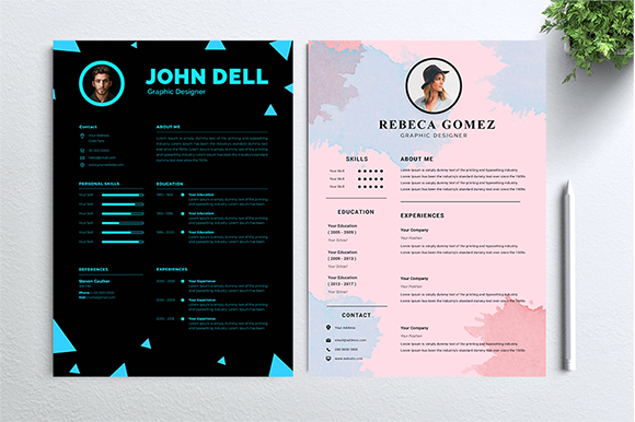 Download Free Cv Resume 2 Concept Bundles Mc Vol 18 Grafico Por Mc Store for Cricut Explore, Silhouette and other cutting machines.