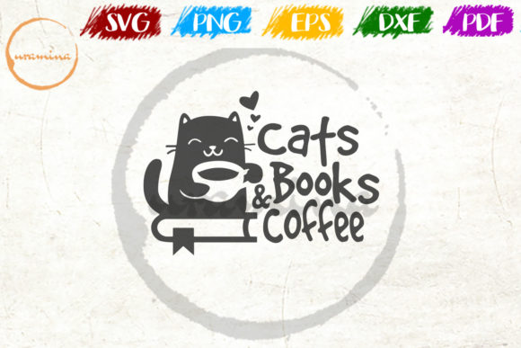 Print on Demand: Cats Books and Coffee Graphic Crafts By Uramina