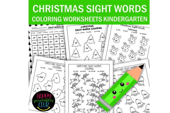 Christmas Sight Words Coloring Worksheet Graphic