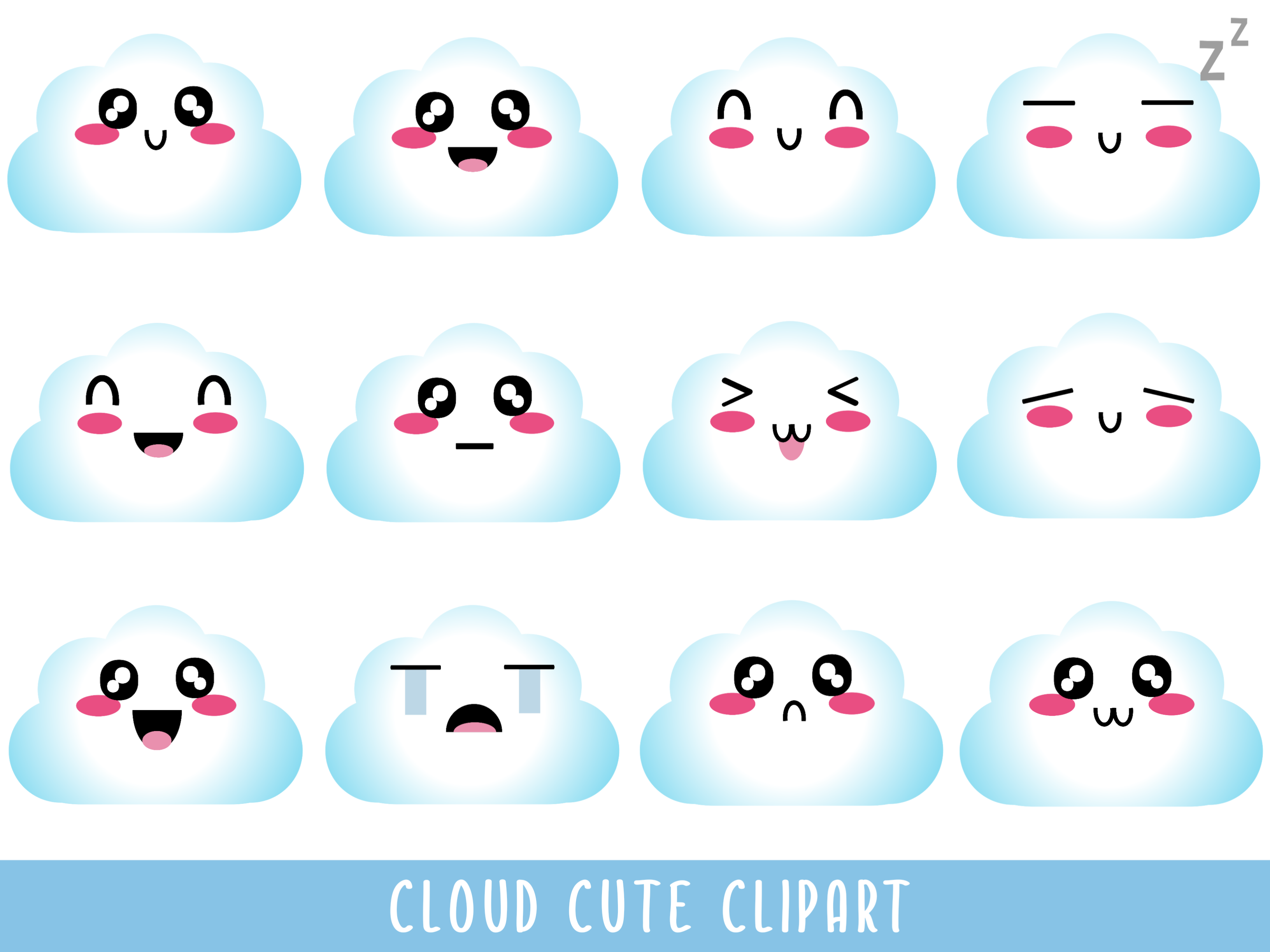 Download Free Cloud Cute Clipart Graphic By Happy Kiddos Creative Fabrica for Cricut Explore, Silhouette and other cutting machines.