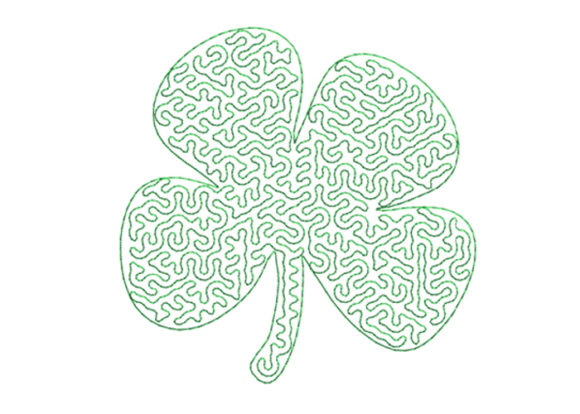 Clover Stippling Single Flowers & Plants Embroidery Design By SweetDesign