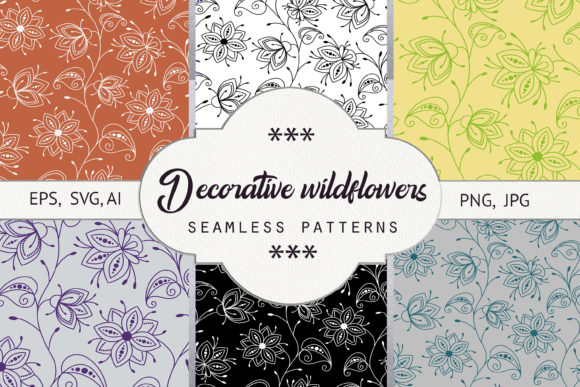 Download Free Decorative Wildflowers Seamless Pattern Graphic By Natika Art for Cricut Explore, Silhouette and other cutting machines.