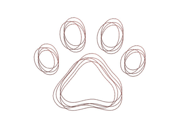 Dog Paw Scribble Stitch Dogs Embroidery Design By SweetDesign