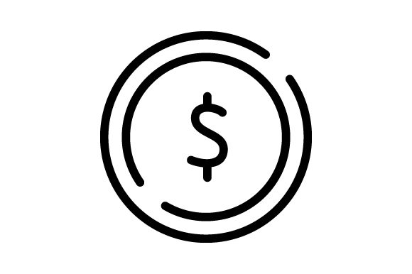 Download Free Dollar Icons Finance Thin Line Coins Graphic By for Cricut Explore, Silhouette and other cutting machines.