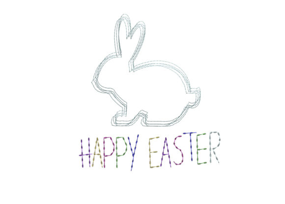 Easter Rabbit Scribble Stitch Easter Embroidery Design By SweetDesign