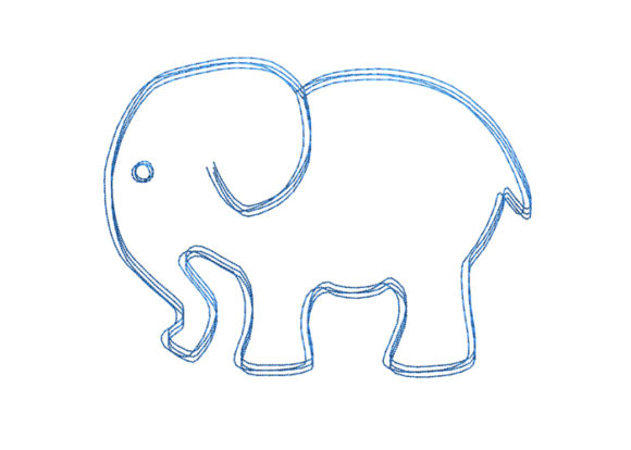 Elephant Scribble Stitch Wild Animals Embroidery Design By SweetDesign