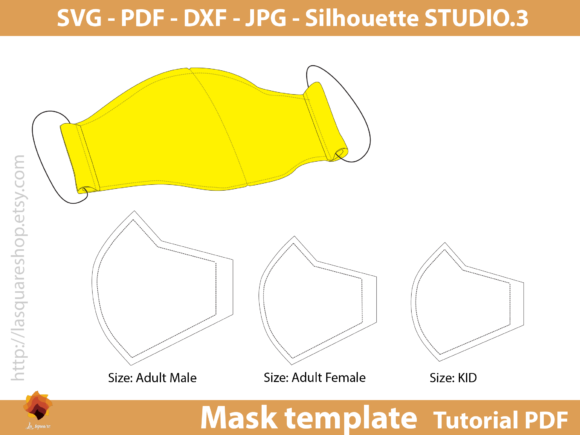 Face Three Size Mask Templates Graphic Sewing Patterns By lasquare.info - Image 1