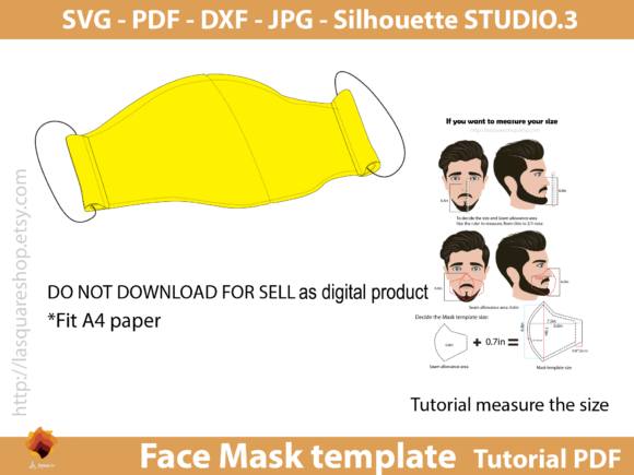 Face Three Size Mask Templates Graphic Sewing Patterns By lasquare.info - Image 2