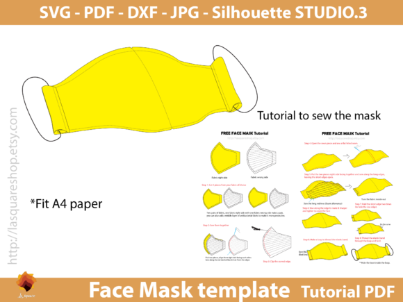 Face Three Size Mask Templates Graphic Sewing Patterns By lasquare.info - Image 3