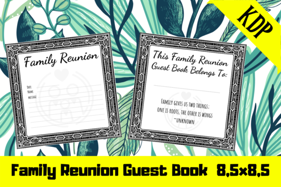 Print on Demand: Family Reunion Guest Book | KDP Interior Graphic KDP Interiors By Hungry Puppy Studio