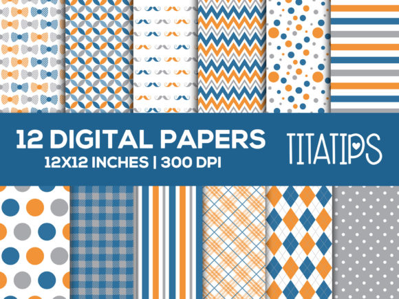 Father's Day Digital Papers Set Graphic Patterns By TitaTips