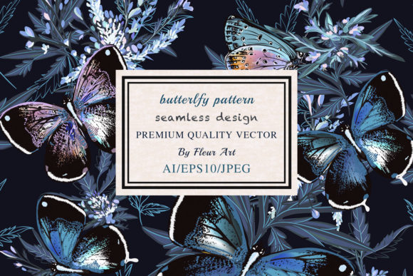 Floral Vector Pattern with Butterflies Graphic Patterns By fleurartmariia