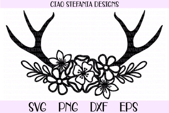 Download Free Flower Antlers Graphic By Ciaostefaniadigital Creative Fabrica for Cricut Explore, Silhouette and other cutting machines.