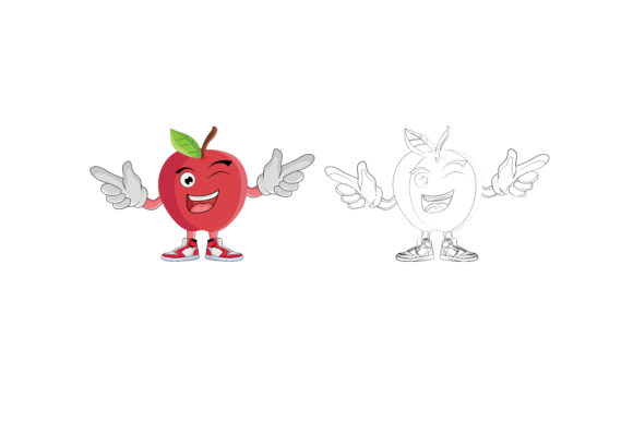 Download Free Fruits Apple Cartoon Character Graphic By Printablesplazza for Cricut Explore, Silhouette and other cutting machines.
