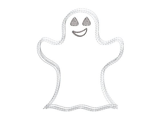 Ghost Scribble Stitch Halloween Embroidery Design By SweetDesign