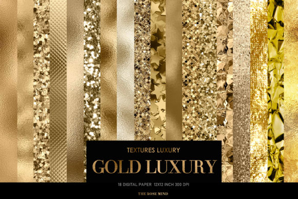 Print on Demand: Gold Luxury Graphic Textures By TheRoseMind