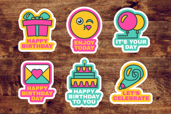 Download Free Happy Birthday Labels Set Graphic By Barsrsind Creative Fabrica for Cricut Explore, Silhouette and other cutting machines.